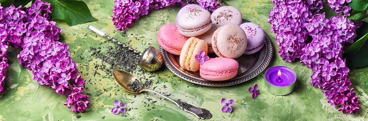 Spring dessert from french macaroons