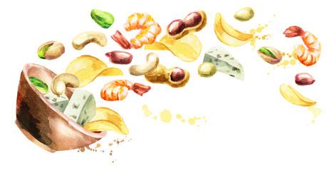 Bowl of beer snacks. Hand drawn horisontal watercolor