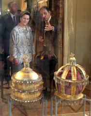 Queen Sonja of Norway is shown Egyptian Coptic Christian religious crowns at Coptic Museum in Old Cairo