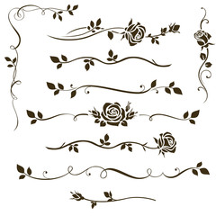 Vector set of floral dividers, calligraphic elements, decorative rose silhouettes for wedding invitation design and page decor