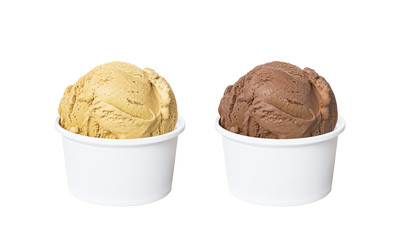 Ice cream scoops in white cups of butter pecan and chocolate flavours isolated on white background (clipping path included)