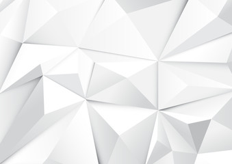 Wall Mural - Abstract geometric white tone polygon and triangles background