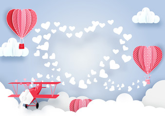 airplane flying over clouds and smoke hearts shape with Cute hot air balloons background. Paper art style