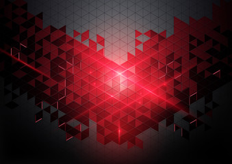 Red geometric abstract technology digital hi tech concept in dark background