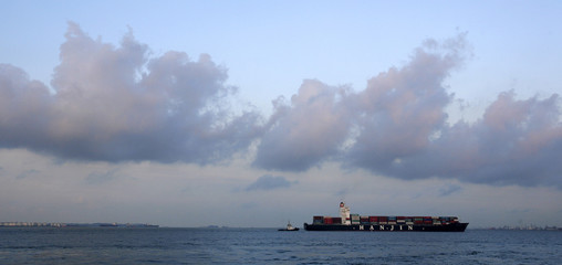 A loaded container ship enters the Port of Singapore Authority's Pasir Panjang container terminal