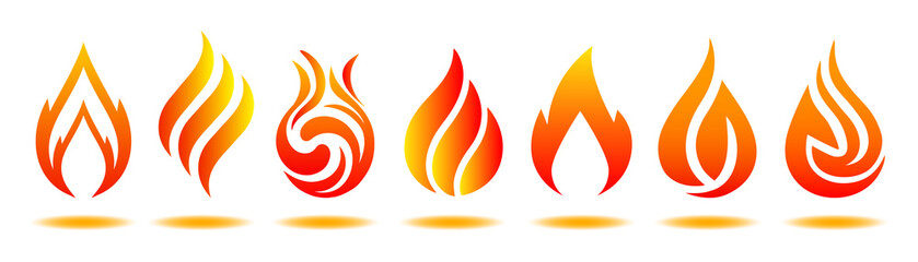 Set logo fire. Vector illustration for design - for stock