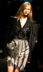 A model displays a creation by Prada during Milan Fashion Week