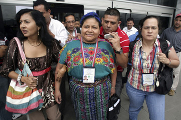 Guatemalan Nobel laureate Rigoberta Menchu arrives at the International Airport in Tegucigalpa