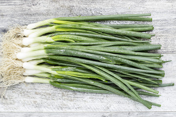 Spring onion on wooden table