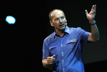 Moore, President of Electronic Arts Sports, speaks at a media event before the opening day of the Electronic Entertainment Expo, or E3, at the Orpheum theatre in Los Angeles