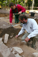 ARCHAELOGISTS WORK ON THE DISCOVERY PLACE OF THE BRONZE AGE STAR DISCNEAR NEBRA.
