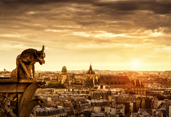 Wall Mural - Gargoyle over Paris at sunset, France
