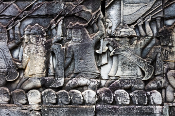 old khmer art carvings bas-relief