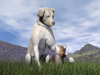 Dog and cat friendship - 3D render