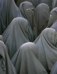 Veiled women attend a rally against the recent reproduction of cartoons depicting Prophet Mohammad by Danish newspapers, in Sanaa