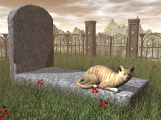 Cat on a tombstone - 3D render