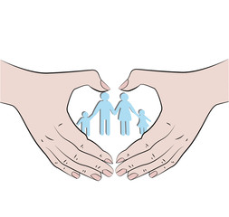 Hands folded in the form of the heart, inside the family. Concept of a strong family. vector illustration