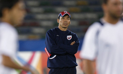 Atlante's coach Cruz watches during a training session in Abu Dhabi