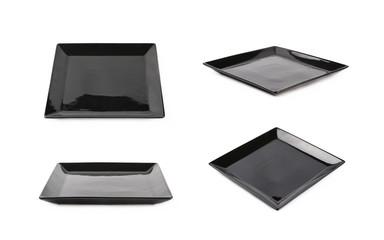 Black ceramic square plate isolated