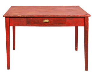 red wood table with drawer