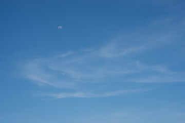Blue sky with the moon