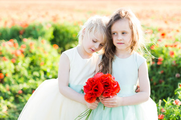 little girl model, childhood, fashion, summer concept - romantic hug of the two beautiful little girls in white and blue dresses on the field of poppies, in the hands of each is a bouquet of red poppy