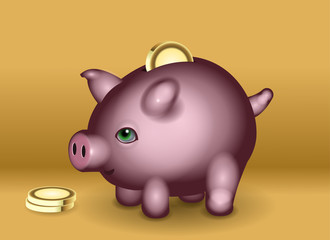 Piggy bank character. Digital Illustration