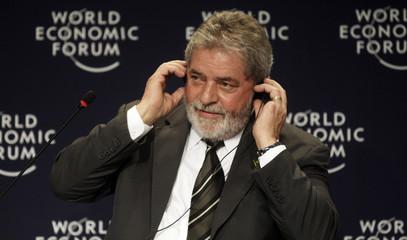 Brazil's President Lula da Silva gestures during opening plenary of the  World Economic Forum on Latin America in Rio de Janeiro