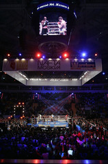 WBO heavyweight boxing champion Ibragimov of Russia fights with Holyfield of the U.S. during their WBO heavyweight bout in Moscow