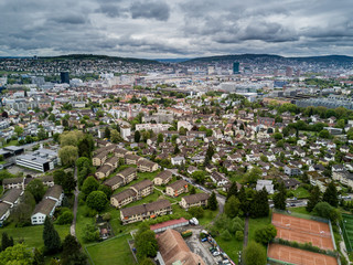 Aerial view of suburbs of Zurich