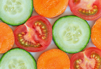 Colorful sliced vegetables close up.