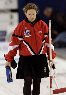 DEJECTED CANADIAN SKIP JONES LEAVES ICE AFTER LOSING AT WORLD CURLING.