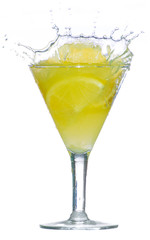splashes of lemon juice on white background