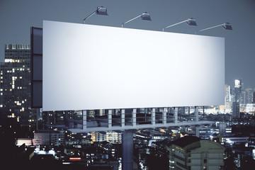 Obraz Billboard on night city background side - fototapety do salonu