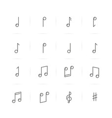 Icons set of music notes in thin line style. Vector illustration.