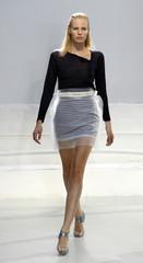 Model presents creation by Indian fashion designer Singh in Paris