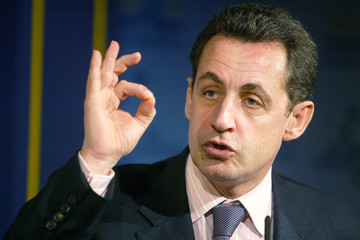 France's UMP party leader Sarkozy, speaks during the IDC Herzliya institute for policy and ...