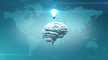 Lightbulb and brain in front of digital world backdrop