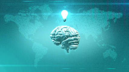 Brain with light bulb in front of digital Earth backdrop