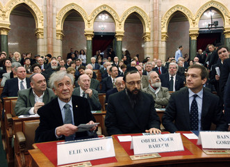 Nobel Peace Prize winner Wiesel, Rabbi Baruch and Hungarian PM Bajnai attend a symposium in Budapest