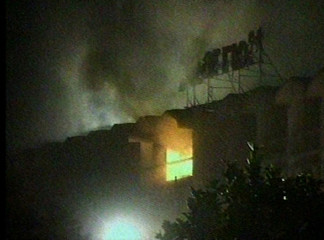 The Marriot Hotel burns after a suspected suicide car-bomb attack in Islamabad in this video grab