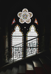 Gothic stained-glass window in Rathaus town hall