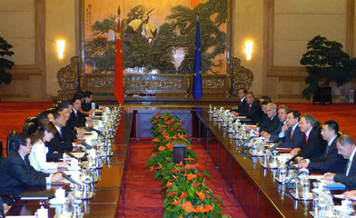 The Chinese delegation and the EU delegation meet at the Great Hall of the People in Beijing.