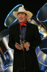 Country music legend Ian Tyson announces the Country Recording of the Year award at the Juno Awards, the Canadian Music Awards, in Calgary.