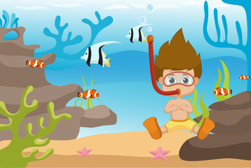 Kid diving under the ocean.