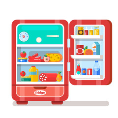 Vintage Red Opened Refrigerator Full Of Food  Flat  Vector Illustration