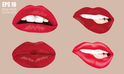 Набор губ женщин. Пышные губы, как поцелуй и с открытым ртом. Красные шикарные сексуальные губки на телесном фоне.
