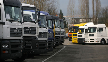 Trucks of German truck maker MAN AG are parked at the MAN truck construction plant in Munich