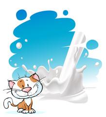 painted milk splash design with cute cat - vector illustration
