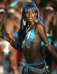 A reveller parades during Carnival in Trinidad